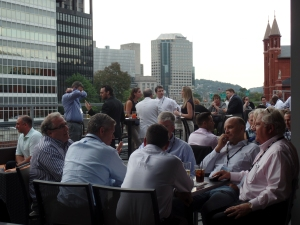 Networking on the roof at Blue Line Grille